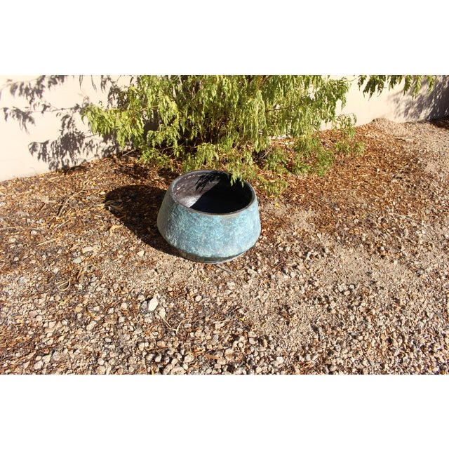 Mid-Century Blue Fat Lava Glaze Drip Planter Pot - Image 7 of 10