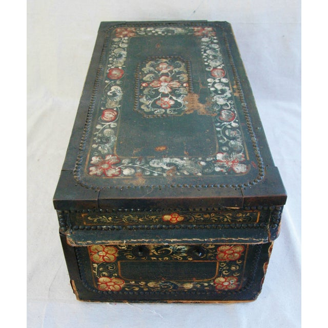 French 19th C. Hand Painted Leather Trunk - Image 9 of 10