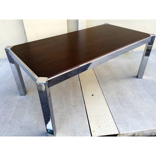 Image of Milo Baughman DIA Wood & Chrome Dining Table