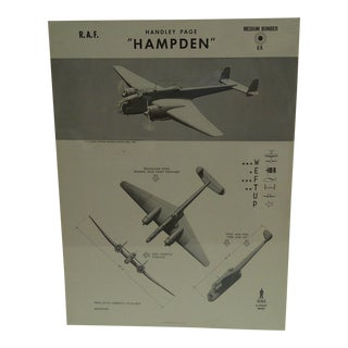"Vintage WWii Aircraft Recognition Poster ""Handley Page Hampden"", R.A.F., 1943"