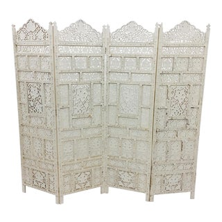 Vintage Moroccan Teak Wood Folding Screen