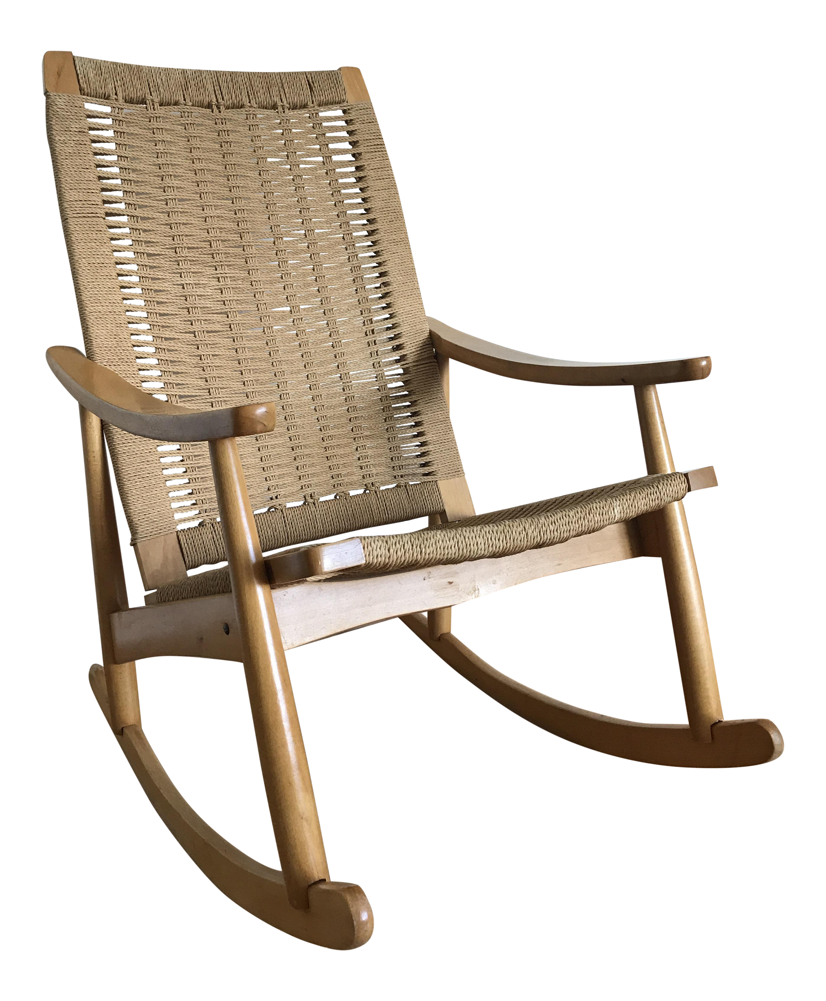 Vintage Mid Century Modern Hans Wagner Style Rocking Chair In Woven Rope