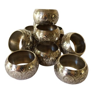 Vintage Etched Silver Plated Napkin Rings - Set of 12