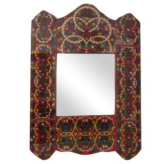Vintage Hand-Painted Scrolling Floral Mirror