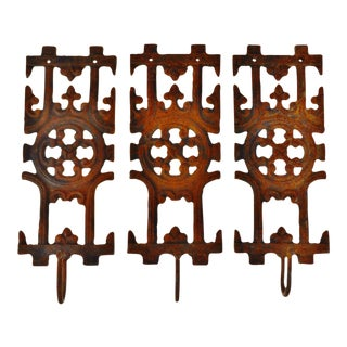 Asian-Inspired Cast Iron Wall Hooks - Set of 3