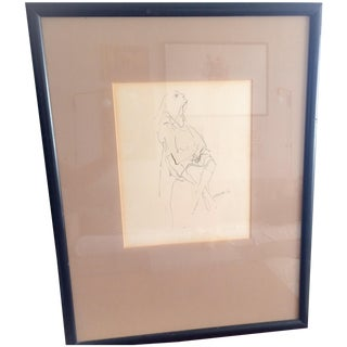 Vintage S. Reppa Man Ink Sketch