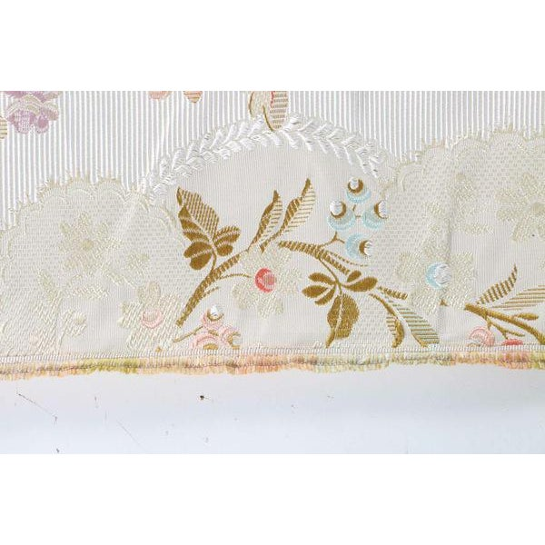 Roll of 7 Yards Heavy Floral Embroidered Silk Brocade Satin Upholstery Fabric - Image 6 of 9