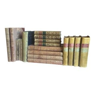 Antique Brown Mustard Books - Set of 18