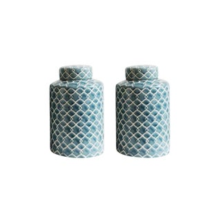 Hand Painted Blue and White Celadon Jars - a Pair