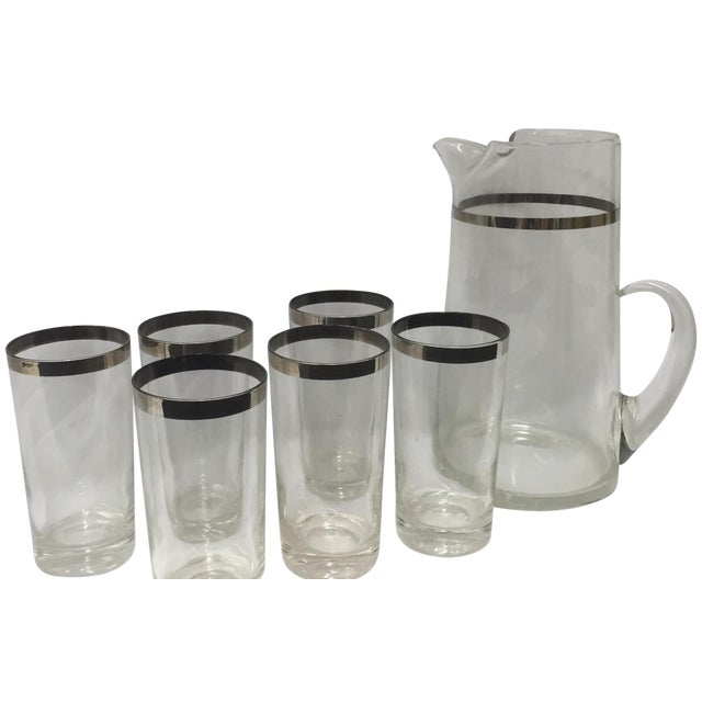 Image of Mid-Century Silver Banded Pitcher and Six Glasses