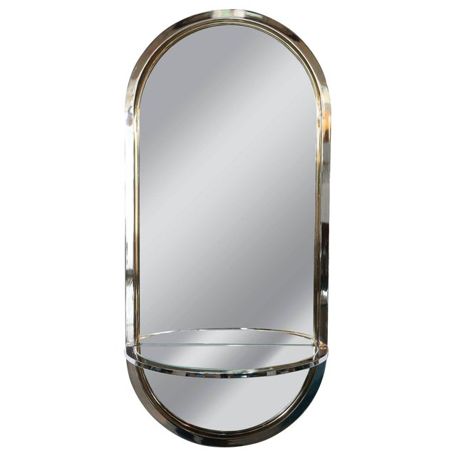 Chrome and Brass Mirror with Console by DIA - Image 1 of 6