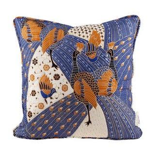 Quilted Blue Peacock Batik Throw Pillow