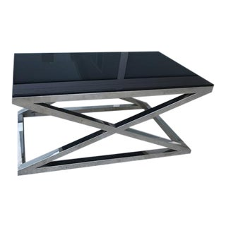 Chrome & Black Marble Coffee Table