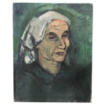 Image of Woman in Kerchief Vintage Portrait Oil Painting