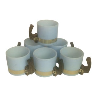 Mid-Century Blue Siesta Ware Mugs - S/6