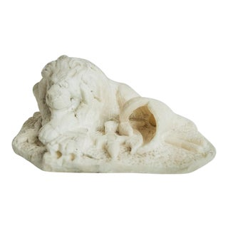 CARVED ALABASTER LION