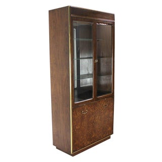 Pair of Burl Walnut, Brass and Glass Show Case Curio Cabinets