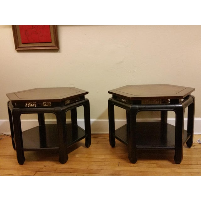 Hollywood Regency Hexagonal End Tables - a Pair - Image 2 of 8
