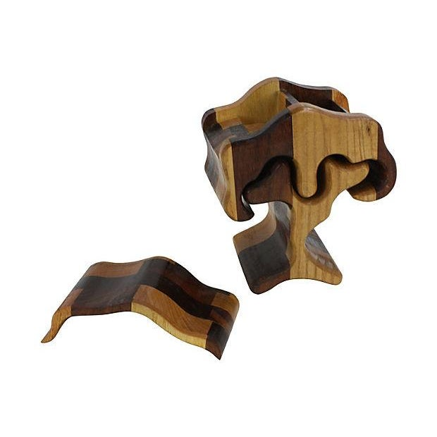 Image of 1970s Hand-Carved Puzzle Box Tree