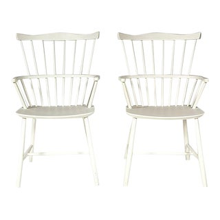 Børge Mogensen White Windsor Chairs, Pair