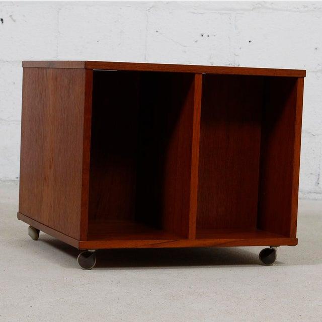 Rolling Vinyl / Book Caddy / Multifunctional Storage Cube in Teak - Image 8 of 10