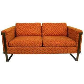Milo Baughman Bronze Flat Bar Loveseat