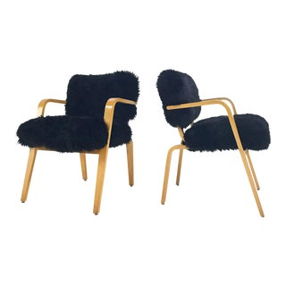Forsyth One of a Kind Black Sheepskin Armchairs In The Style of Joe Atkinson for Thonet- Pair