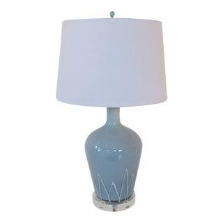 Powder Blue & White Art Glass Table Lamp