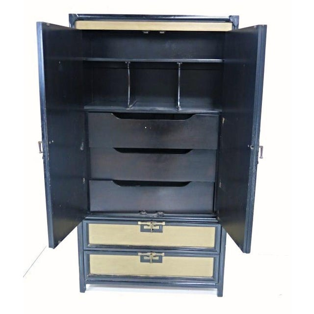 Image of Mid-Century Gold Black Laquer Armoire Wardrobe