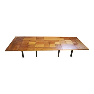 Custom 1970s Polished Steel & Patchwork Wood Tiled Industrial Table