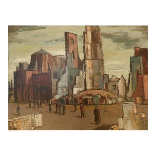 """Lundy Siegriest """"Monuments of War"""" 1949 California Modernist Painter"""