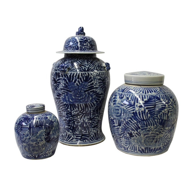 Chinese Set of 3 Blue White Abstract Flower Temple Ginger Jars - Image 2 of 5