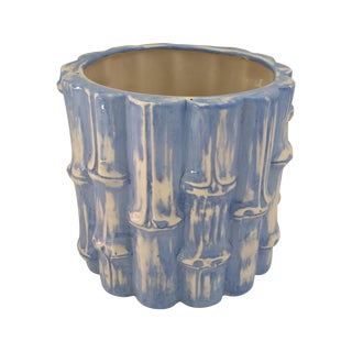 Hand Painted Blue Bamboo Cache Pot