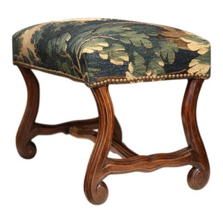 French Aubusson Tapestry & Walnut Stool