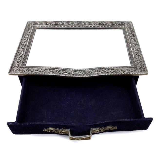 Image of Vintage Silver Carved Deep Navy Jewelry Box