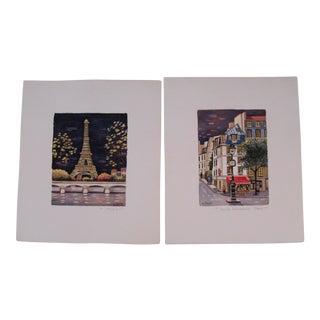 Paris Watercolor Paintings - A Pair
