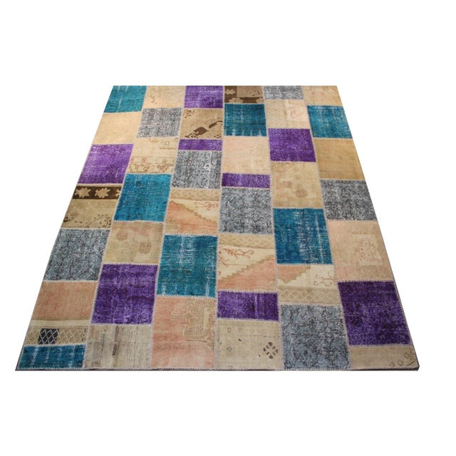 Turkish Patchwork Multicolored Rug - 8′ × 9′10″ - Image 1 of 7