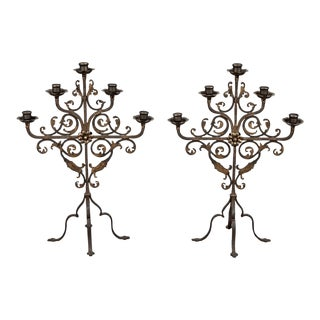 Pair French 5-Light Wrought Iron Table Sconces or Mantel Candelabras