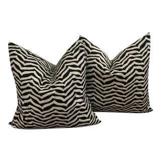 Black and White Linen Geometric Pillows - A Pair