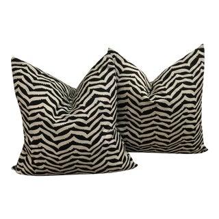 Black and White Linen Geometric Pillows - A Pair