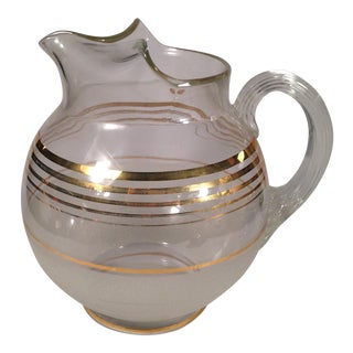 Mid-Century Glass Gold Striped Ball Jug