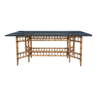 Vintage Faux Bamboo Dining Table with Glass Top