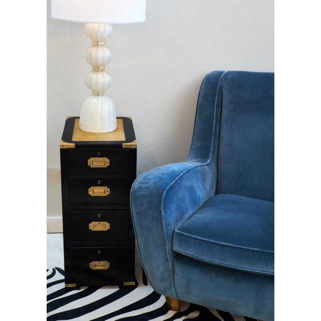 English Campaign Style Ebonized Mahogany Side Tables- A Pair - Image 4 of 10
