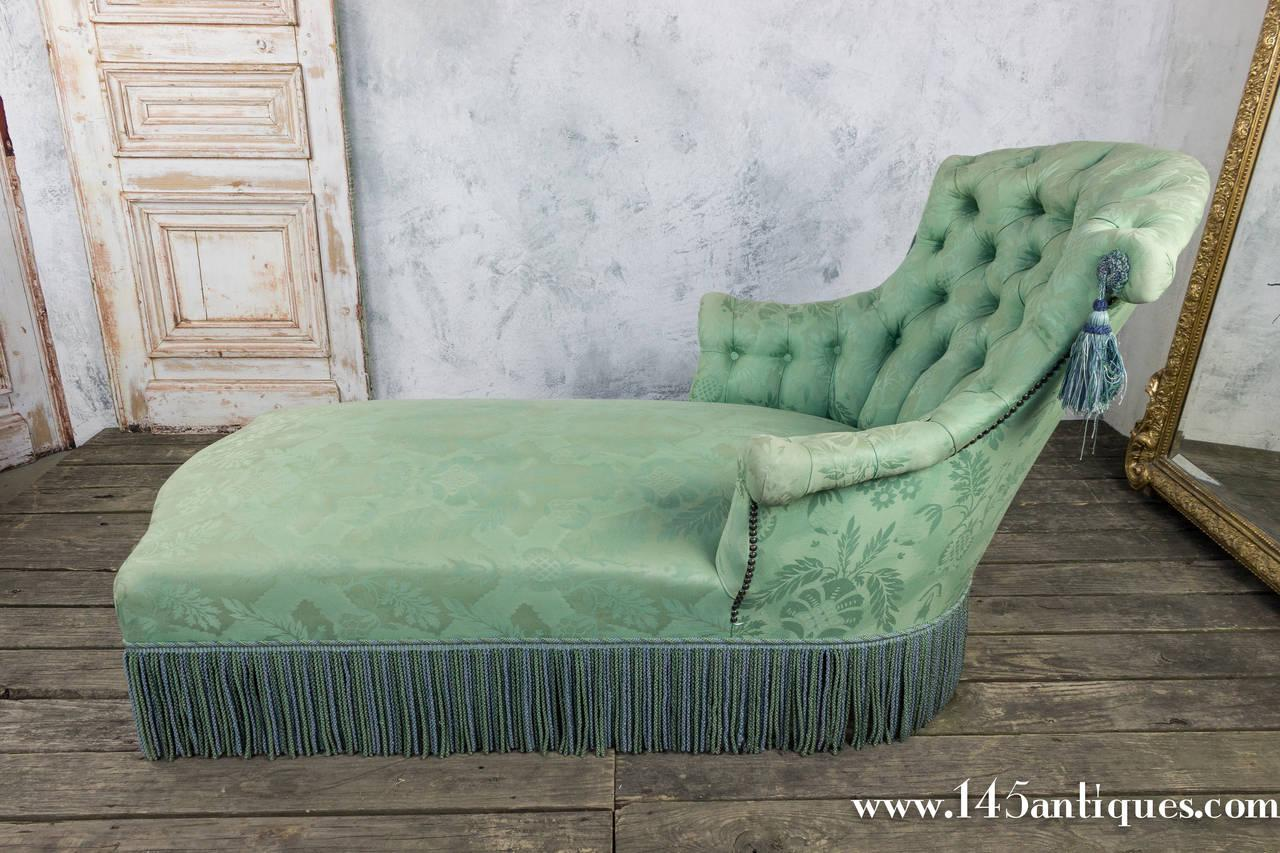 19th C. French Damask Chaise Lounge - Image 10 of 10  sc 1 st  Chairish : damask chaise lounge - Sectionals, Sofas & Couches