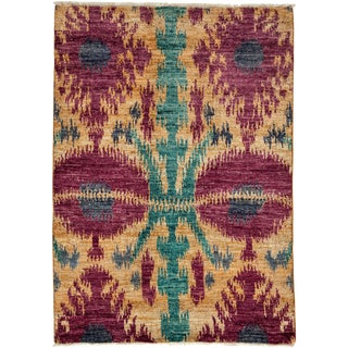 Ikat Hand Knotted Area Rug - 4' X 5'9""