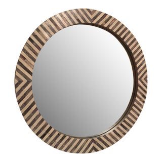 West Elm Round Herringbone Parsons Wall Mirror