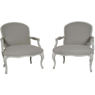 Grey Painted Provincial Armchairs - A Pair