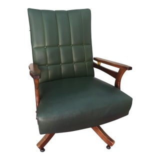 Green Tufted Leather Rolling Chair