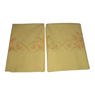 1950 Hand Embroidered Pillow Cases - A Pair