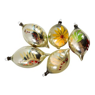 Hand Painted Tear Drop Christmas Ornaments - Set of 5